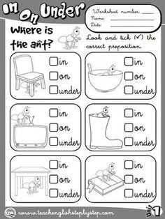 Resultado de imagen para prepositions of place activities pdf