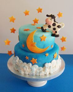 Moon and stars hey diddle diddle Cake by Joy's Cake Studio