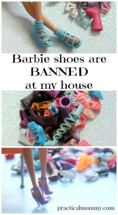 Barbie Shoes Are BANNED In My House - I love Barbies and I love playing Barbies with my two little girls. But my girls are 3 years old and almost 2. So they have a total of 3 Barbies, with maybe 2 outfits between them. The first thing I did when the Barbie boxes got opened? Threw away those super cute Barbie shoes.