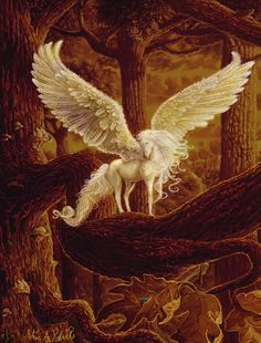 The Mythical Pegasus. There is so much beautiful art having to do with mythical creatures. The human imagination is boundless. Unicorn And Fairies, Unicorn Fantasy, Unicorn Art, Fantasy Art, Magical Creatures, Fantasy Creatures, Pegasus, Winged Horse, Inspiration Art