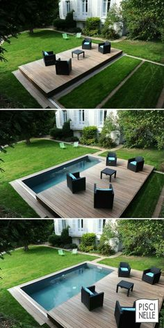 Discover thousands of images about Pool/Schwimmbecken und verschiebbares Deck/Terrasse Small Backyard Pools, Backyard Pool Designs, Small Pools, Backyard Landscaping, Landscaping Ideas, Patio Ideas, Small Garden Tub, Small Garden With Pool Ideas, Backyard Patio