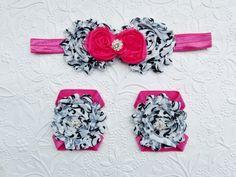 Damask  Pink Baby Barefoot Sandals and Headband Baby by mamabijou, $12.50