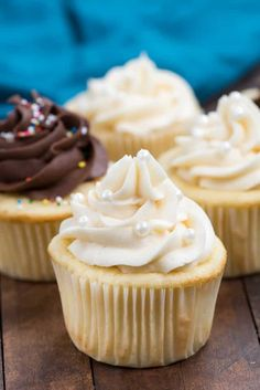 This BASIC Yellow Cake Recipe makes the perfect vanilla cupcakes! Never use a cake mix again!
