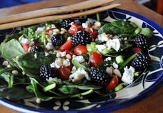 Spinach Salad with Blackberries and Balsamic Dressing - Seriously, this makes my mouth water.