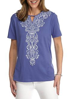 5a642d92a2d Alfred Dunner Reel It In Seahorse Shell Embellished Tee Petite Tops, Alfred  Dunner, Linen