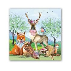 2 single Paper Napkins for DECOUPAGE Crafts Collection Party Birds Animals Deer Bear Fox Wild Forest Nature