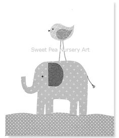 Elephant Nursery, Complements Pottery Barn Taylor Bedding, Safari Friends, Reese, Gray and White Nursery, 8 x 10, Cute Nursery Art