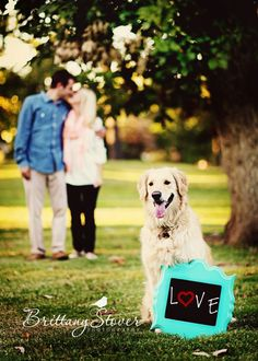 Engagement photo with dog.. oh this is too cute and i will do this