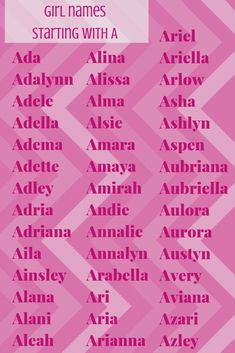 Unique Baby Girl Names Starting with A DadTypical - Babies Girl Names - Ideas of. List Of Girls Names, Beautiful Baby Girl Names, Baby Girl Names Unique, Girl Names With Meaning, Cute Baby Names, Names Girl, Cute Baby Girl, Baby Girls, Names Starting With A
