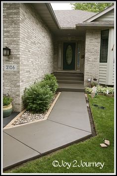 Joy 2 Journey: Staining a cement walkway ... Such a clean look. I wish we could do this!