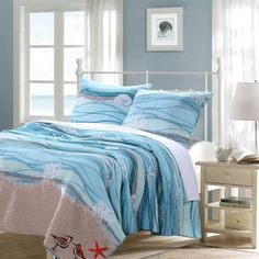 Greenland Home Fashions Maui Bonus Reversible Quilt Set Size: Full/Queen Nautical Bedding Sets, Coastal Bedding, Luxury Bedding, Tropical Bedding, Modern Bedding, Coastal Quilts, Luxury Linens, Beach Theme Bedding, Coastal Curtains