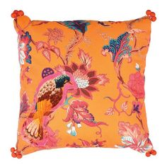 Embroidered cotton pillow with pompom detail and a multicolor floral motif.Product: PillowConstruction Material: Cotto...