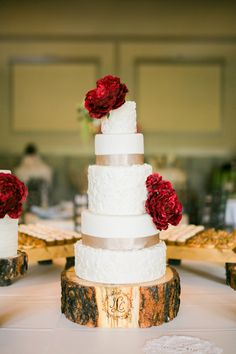 roma red wedding cake - photo by Meigan Canfield Photography http://ruffledblog.com/italian-wedding-inspiration-with-pops-of-red #weddingcake #cakes