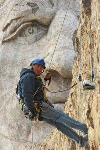 Working on Crazy Horse's nose, Crazy Horse Memorial, Black Hills