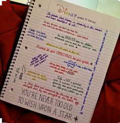 Inspiring Disney Quotes.  Notebook idea for keeping your spirit up!