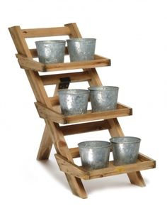 STRUCTURES: DIY 3-tiered plant stand.    Wonder if I could swing a DIY plant stand with a ladder.... by SAburns