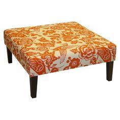 Kristine upholstered ottoman - canary orange