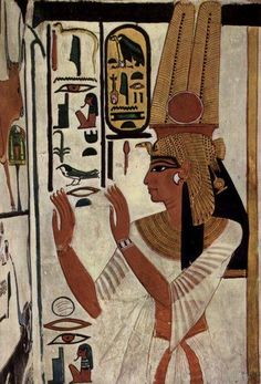 Nefertari was the Great Royal Wife of the Egyptian pharaoh Ramses the Great.  - Nefertari's tomb is in the Valley of the Queens. A temple was built for her at Abu Simbel, as well. This beautiful painting from her tomb wall shows a royal name, which you can tell even without reading hieroglyphs, because there is a cartouche in the painting. The cartouche is the oblong with a linear base. It was used to contain a royal name.