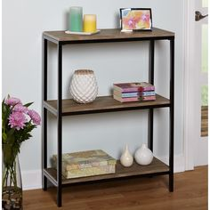 Simple Living Piazza Metal/ Wood 3-tier Bookshelf | Overstock.com Shopping - The Best Deals on Office Storage & Organization