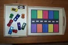 Color Sort...could also use this with color sight words for kindergarten students (Will definitely be making this for Jonathan this month).