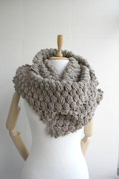 Infinity Scarf Loop Circle scarf Cowl Milky by denizgunes