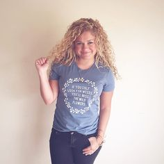 Our wild flowers tee is hand printed on a 100% cotton. It's form fitting to give it a fun and flirty look. This tee is so soft for everyday comfort. Camp moxie products Are all hand printed to give them a vintage feel and ensure that not one is exactly the same.our garments are originals, just li...