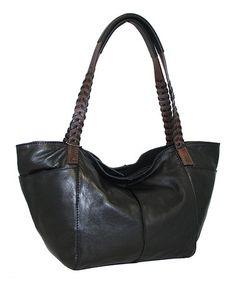 772c056bab9e Black Midsize Whip It Leather Tote by Nino Bossi Handbags