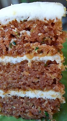 Zucchini cake recipe is the best recipe to use all that extra garden zucchini! The lemon cream cheese frosting between all three layers of cake is fabulous Brownie Desserts, Just Desserts, Delicious Desserts, Dessert Recipes, Yummy Food, Healthy Tasty Recipes, Easter Desserts, Christmas Desserts, Healthy Desserts