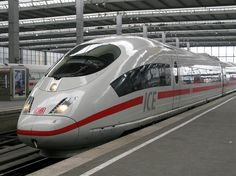 The ICE-3 bullet train of Deutsche Bahn, seen here at Munich central station.