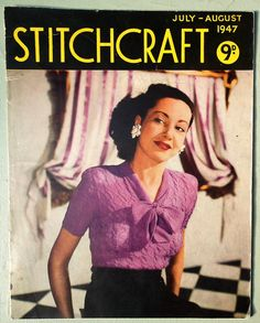 407207428 Vintage 40s Stitchcraft July - August 1947 Knitting Sewing Magazine  original 1940s knitting patterns women s jumpers sweaters cardigan