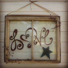 Hand painted upcycled old window Got a bunch of windows. Trying to figure out what to do with them Old Window Crafts, Old Window Projects, Window Art, Window Frames, Window Ideas, Window Boards, Window Picture, Lace Window, Picture Wall