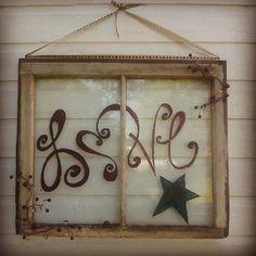 Hand painted upcycled old window by UpcycledDecorbyJena on Etsy, $55.00