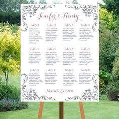 PRINTABLE calligraphy Wedding Seating Chart  by KidsinvitationCo