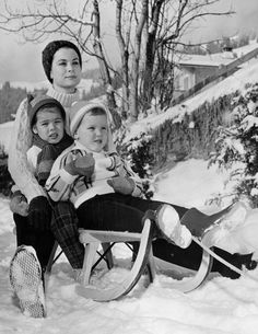 Princess Grace of Monaco with her children, Princess Caroline and Prince Albert.