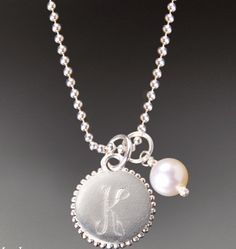 """Felicity Silver Medium Alphabet Charm: Sterling silver alphabet charm, 1/2"""" diameter. Sterling silver ball chain and  pearl charm sold separately.    http://www.fayekimdesigns.com/store/Bridal-Boutique/Felicity-Silver-medium-alphabet-charm/prod_341.html    $65.00"""