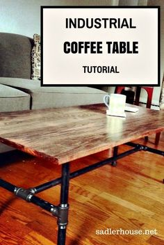 Click through and level up your living room design with our popular tutorial for a DIY industrial decor coffee table using wood and metal plumbing pipe. Pictures included!