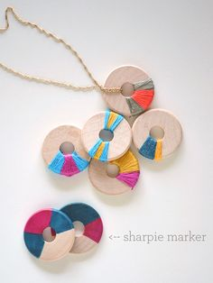 DIY Wooden Jewelry - actually meant as adult jewelry, but this looks like one kids could get in on