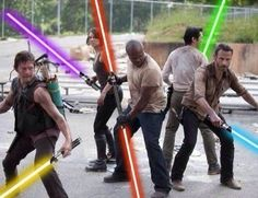 Walking dead with Light Sabers