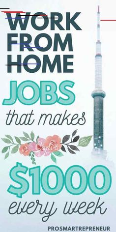 10 Best Work from Home Jobs that makes $1000 every week You don't really have to do a 9-5 job just to make ends meet. These work from home jobs are high paying and in demand. Plus, you don't need the experience to qualify for these jobs. Start making full-time income by working from home with one of these jobs. #workfromhome #workfromhomejobs #makemoneyonline #makemoneyfromhome #makemoneyathome  all you need is a laptop and an internet connection!