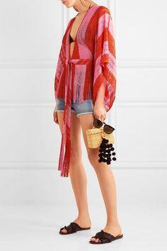 Missoni - Mare Fringed Metallic Crochet-knit Kimono - Bubblegum - IT42