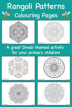 Instantly download these FREE rangoli patterns for your children to colour alongside your Diwali-themed activities! Mindfulness Colouring Sheets, Rangoli Patterns, Religious Education, Coloring Sheets, Diwali, Diversity, Beautiful Images, Color Patterns, Schools