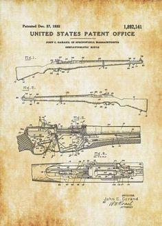Rifles, Wall Prints, Poster Prints, Posters, M1 Garand, Gun Art, Patent Drawing, Photo Printer, Le Far West
