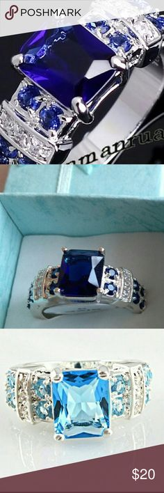 Ring,  Blue sapphire & white topaz gemstones,SP Ring, emerald cut Blue sapphire with round accent stones  of white topaz and blue sapphire gemstones.  925 Silver plated.  ♡♡Light Blue and pink topaz rings pictured have arrived  look for separate listing. ♡♡ ☆☆Only the Dark blue sapphire with white topaz size 9 is available in this listing☆☆ Jewelry Rings
