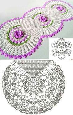 Patr n de camino de mesa tejido al crochet con flores y - Centro de mesa a crochet ovalado ...