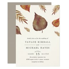 Autumn Leaves Wedding Invitation - rustic gifts ideas customize personalize