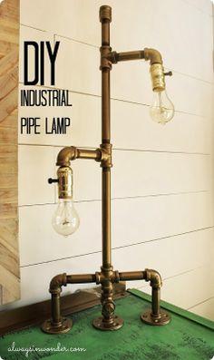 DIY Industrial Pipe Lamp. alwaysinwonder.com