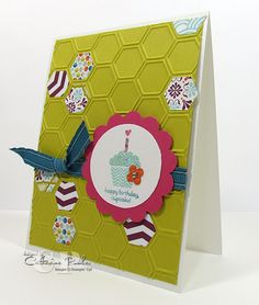 Catherine Pooler: Creativity Grows Here – Sale-a-bration Stampin' Up! Patterned Occasions Honeycomb Embossing Folder - 1/20/13.  (SU/ 2013 SAB: Patterned Occasions).  (Pin#1: Hexagons/... Pin+: Cake...).