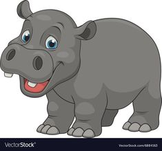 Vector illustration, cute smiling hippo on white background Illustration , Cartoon Cartoon, Cartoon Drawings, Animal Drawings, Zoo Animals, Animals For Kids, Jungle Theme Birthday, Funny Pigs, Cute Lion, Dog Vector