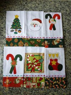 Este Kit contém 6 panos de prato. Pode ser vendido separadamente,o valor de cada pano de prato é :    R$ 25,00 R$ 150,00 Christmas Applique, Christmas Sewing, Christmas Embroidery, Christmas Tag, Christmas Projects, Holiday Crafts, Christmas Decorations, Christmas Ornaments, Quilting Projects