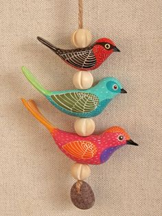 polymer clay bird mobile: